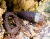 MORTAR SHELL AND (?) CHAIN LINK