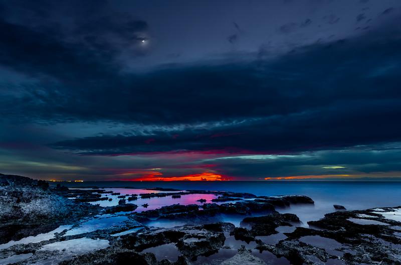 SABANETA SUNSET AFTER-GLOW, GARAPAN, READINESS SHIPS, MANAGAHA, AND THE MOON
