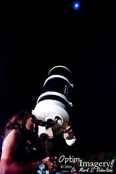 Here, Bev gets an extreme close up view of our Moon.