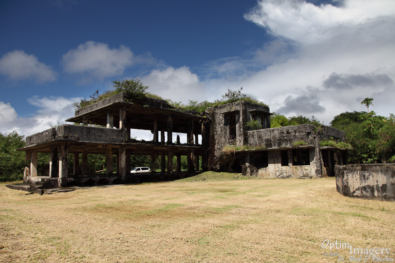 The Japanese Air Administration Building, located just north of the North Field Service Apron, had no connection with the airport activity.  This was a headquarters where officers were responsible for coordination of the air war for the entire region.  After the Americans captured Tinian (and Ushi Field, as the Japanese called this air base), this building was also used by American military officers.