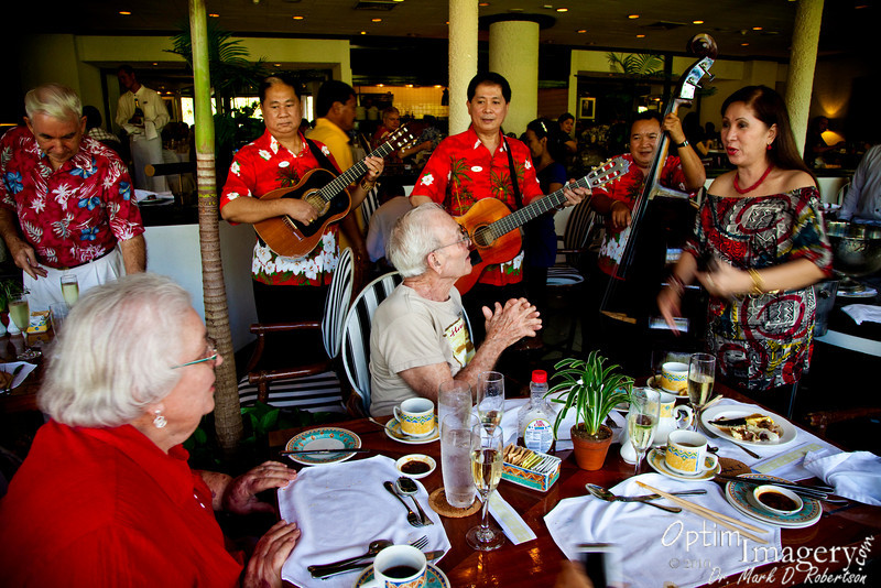 This little ensemble wanders through the restaurant, singing at various tables.  They often sing birthday songs, etc.  They treated our table with a tribute to my parents' time together.