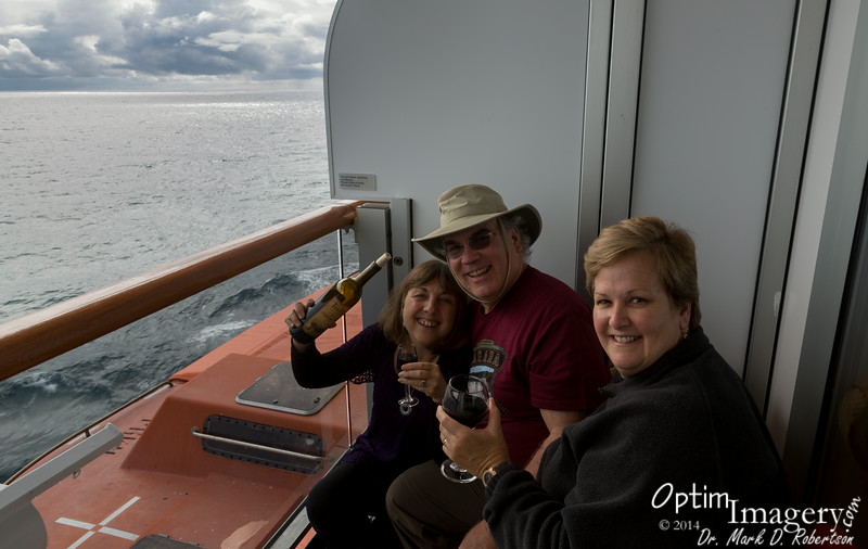 Celebrating our wonderful Glacier Bay trek on Dennis and Judy's veranda.