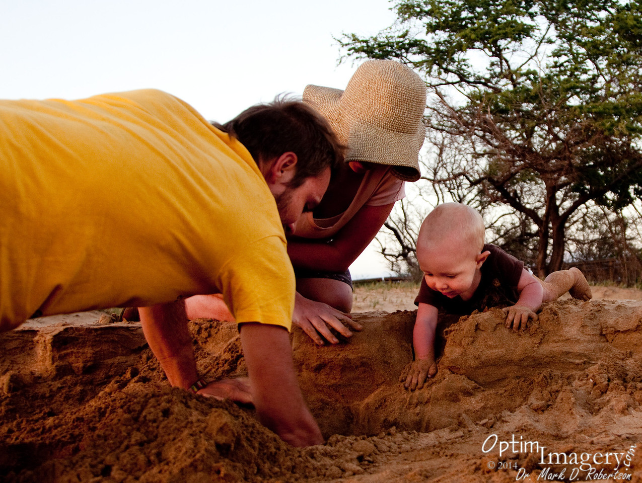 Teaching Rio how to dig in the sand.