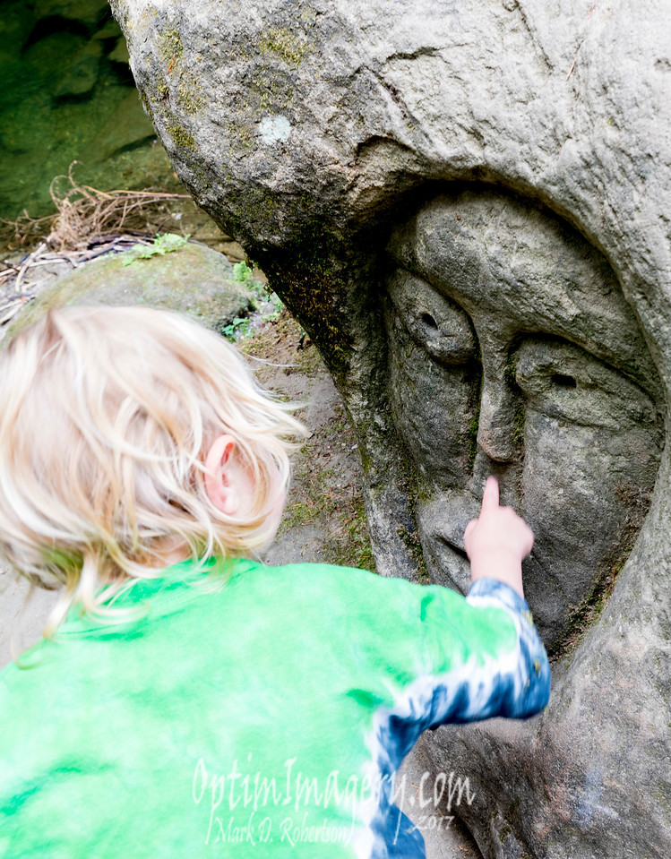 I'm not sure the significance of the face in the boulder. Pretty cool though!