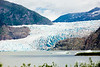 Mendenhall Glacier is 1/2 mile across at its terminus.  The ice on the leading edge fell as snow more than 80 years ago.  While the glacier itself is retreating, the flow brings the snow toward the lake (from the ice field 12 miles away) at a rate of about 1 to 2 feet per day.