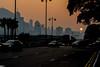 HONG KONG, ACROSS VICTORIA HARBOR, IN THE SETTING SUN