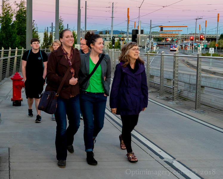 Now our brave and intrepid explorers courageously commence to cross Tilikum  Crossing -- the first major bridge in the U.S. that was designed to allow access to transit vehicles, cyclists and pedestrians but not cars.