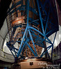 Remember the housings I kept referring to as the Keck Telescopes?  This is a 6-shot panorama from inside the Keck Visitor's Galley.  With the workman there, you get some idea of the size.  The actual 10-meter mirror of the Keck is composed of several smaller hexagonal sections hydraulically-controlled to keep them in near-perfect alignment.  You can see the hexagonal superstructure beneath the mirror just beyond, above, and to your right from the man.