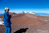 The telescopes on the hill (from left to right) are the Subaru, the Keck (both of the white ones), and the NASA Infrared Telescope Facility.