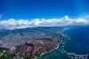 Looking into Diamond Head as we approach Honolulu.
