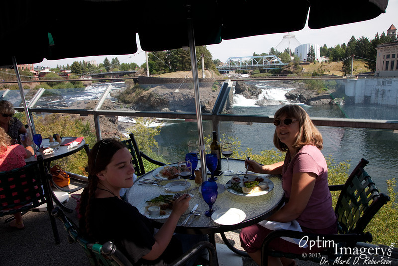 Now Anthony's Seafood Restaurant is in the foreground, Upper Spokane Falls in the background.