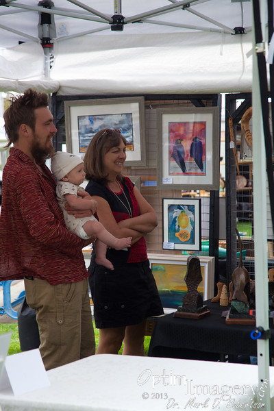 Bev, Zac, and Rio at an arts and craft show in Chelan.