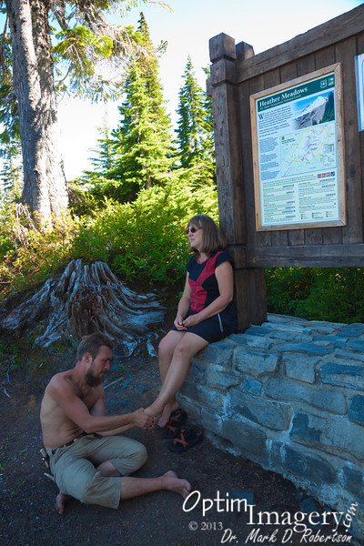 At Heather Meadows.  After all that hiking it's time for a foot massage.