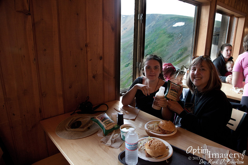 """Lunch near the summit of Trail Ridge Road in the Alpine Visitor Center.  What a nice treat!  To top it off, while we were eating it snowed a bit.  Not enough to """"stick,"""" and I was not able to get a photo of it, but it was quite nice to sit and look out at the snow coming down."""