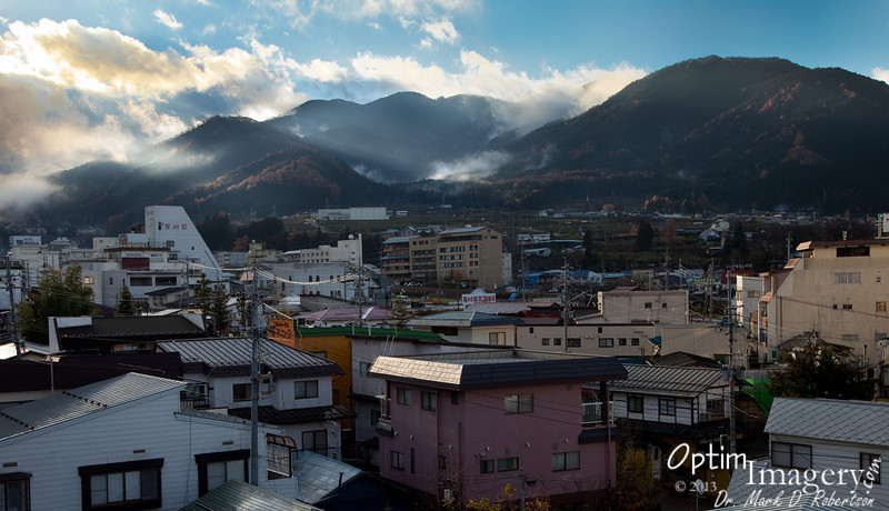 Shimaya Ryokan (where we stayed) is on a little slope, a bit higher than the train station and the main part of town.  This is looking out over the Yudanaka area as we walked to the train station early in the morning to catch a train to Nagano.