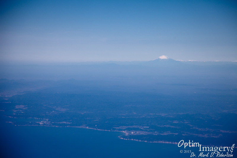 Mount Fuji as we approach Narita over the Eastern Shore of Japan.
