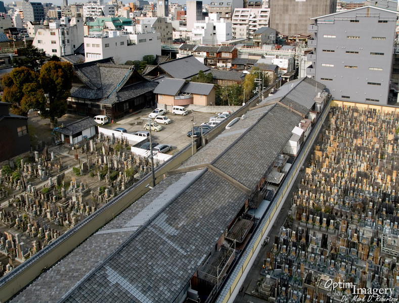 Here is the view out our Hotel Alpha Kyoto window. As you can see, there are two very large cemeteries adjacent to our hotel. I guess you could say that those below us had checked in for good....or....you could say that they had already departed. At any rate, there didn't seem to be any grounds for complaints. As you can also see, a row of apartment houses runs between the cemeteries.