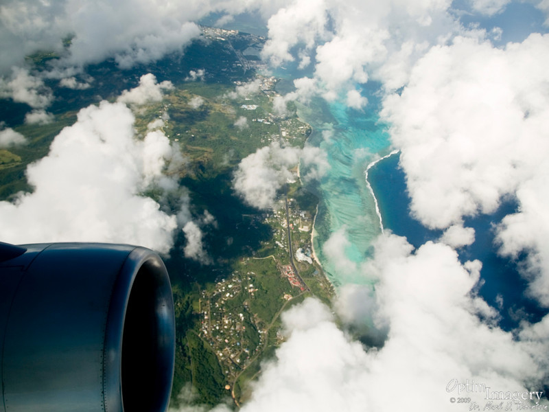 We're on our way! Out over our little island of Saipan and Japan-bound!