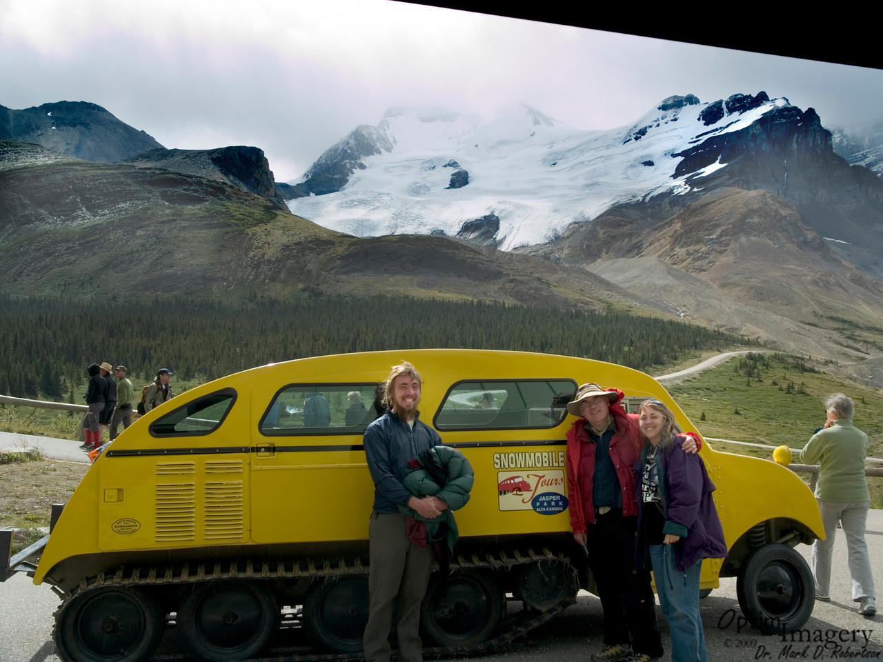 Thanks for taking this photo, Bri.  We are waiting for a bus to take us to a snow bus lot so that we can go out onto the glacier.  They used snow-cats like this one in the 1950's or so, but now have more modern vehicles for the traverse.
