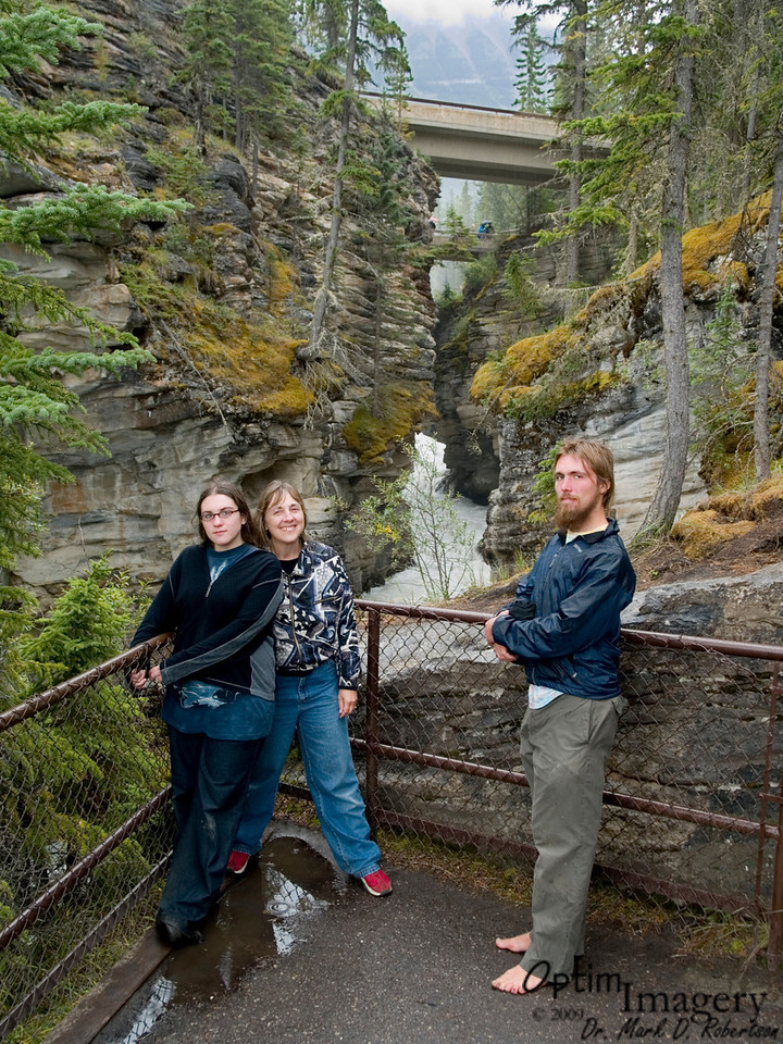 We've walked down one of the old channels.  Athabasca Falls is beyond the two bridges you see behind us.