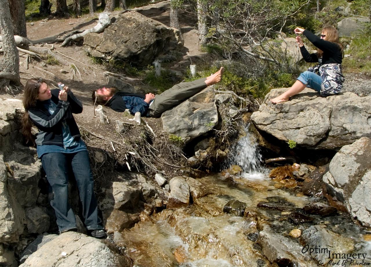 Photographing Tangle Falls, and sleeping Zac.