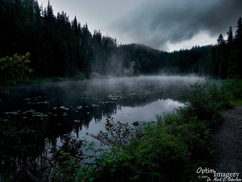 Silently the morning mist<br /> is lying on the water:<br /> Captive moonlight, waiting for the dawn.