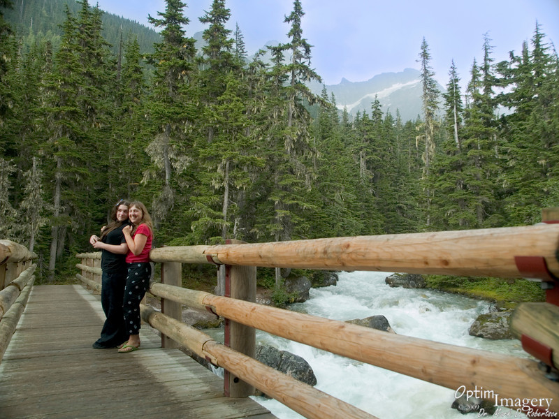 Trails fan out from the Glacier House area.  One can use this as a launching point to spend days traversing the peaks, or (as we did), can make the most of a few minutes roaming the trails near the Glacier House.  This bridge is about a 10 minute walk from the area of the last photo.  You are looking up the Asulken Valley.