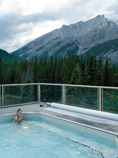 We stayed at THE INNS OF BANFF.  Not spectacular, but relatively inexpensive.  Worth the price, I think, compared with some of the other places I priced.  And it's hard to beat the view from the hot tub!  Mount Rundle in the background.