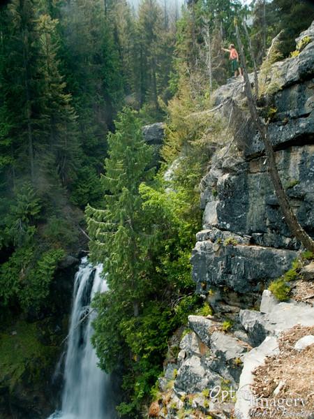 LOWER Cedar falls below Zac.