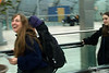 Bev and Bri at Frankfurt Airport Bahnhof. We carried all that we would need for the trip on our backs......