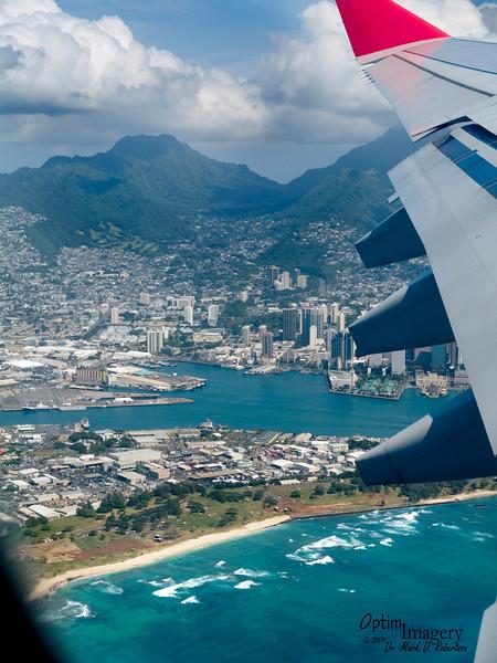 Lifting off from Honolulu International Airport.