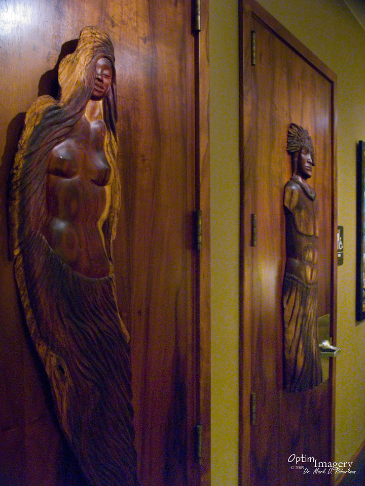 The restroom doors at Keei Cafe, one of the best restaurants I have ever eaten at.  If you will be going to Big Island, this is a must do.  No website, but for reservations, call (808) 322-9992.  I guess you could say that their menu emphasizes seafood, but they also have beef, lamb, and a wide variety that'll knock your socks off!  But leave room for dessert!  Eclectic and wonderful.  Oh, and go on a night when you are not in a hurry!