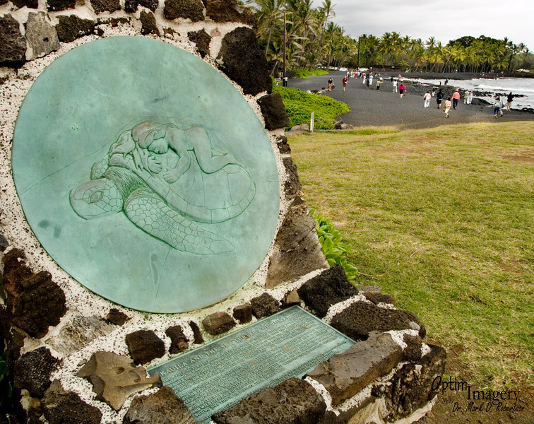 """A few miles west of Kilauea we come to Punalu'u Black Sand Beach.  The signs says """"The mystical turtle Kauila makes her home in the Ka'u district at Punalu'u Bay.  According to Hawaiian mythology, Kauila was empowered with the ability to to turn herself from a turtle into human form and would play with the children along the shoreline and keep watch over them.  The people of Ka'u loved Kauila as the guradian of their children, and also for her spring that gave them pure drinking water.<br /> <br /> The presence of Kauila can still be felt today by the sea turtles that inhabit this special place.""""  Then it goes on to tell that it is against both federal and state law to touch or in any way bother a sea turtle.  Gotta love a sign with a picture, to be seen be all, even those too young to read, showing how cool it would be to lie down on a turtle, and then words telling how one must keep one's distance.<br /> <br /> Oh well.  I didn't see anyone, kid or adult, touch a turtle.  So I guess  the signage works.  And it makes for an interesting and nice picture."""