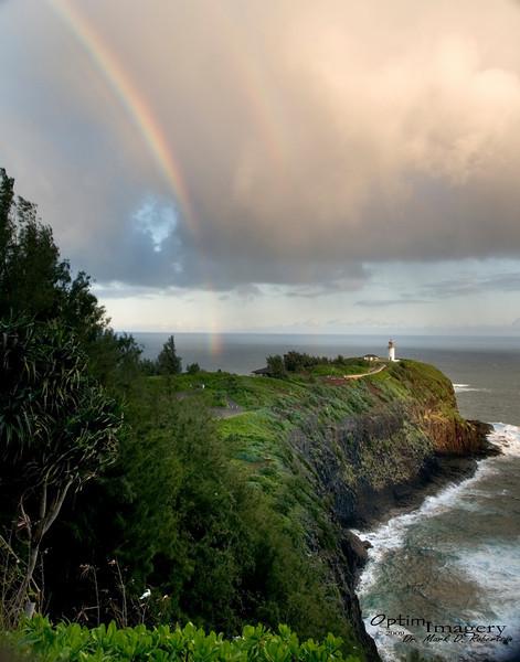 Kilauea Point Lighthouse with rainbow.