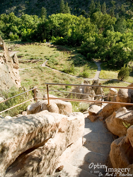 It's my understanding that the trail through here basically follows the ancient path followed by the Ancestral Pueblo People.  Of course, the steps and rails are more modern.