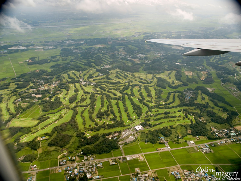 There are several HUGE golf courses one flies over on approach to Narita.