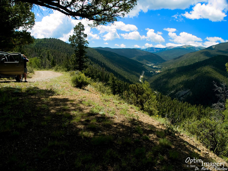 One gets a spectacular view down on the the charming little Valley of the Pines up here.