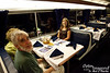 In the dining car.  The food, by the way, was quite respectable.