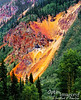 Mineral-rich, colorful, exposed soil slope.
