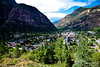 Spectacular Ouray.  We ended up at a campground at the base of that red / purple cliff to your left.