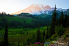 Looking back at Mount Rainier and Paradise Inn to our west as the sun sets.