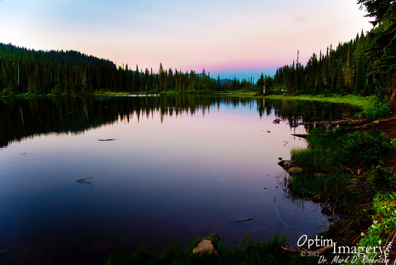 Looking east (away from Mount Rainier) at Reflection Lake, just after sunset.