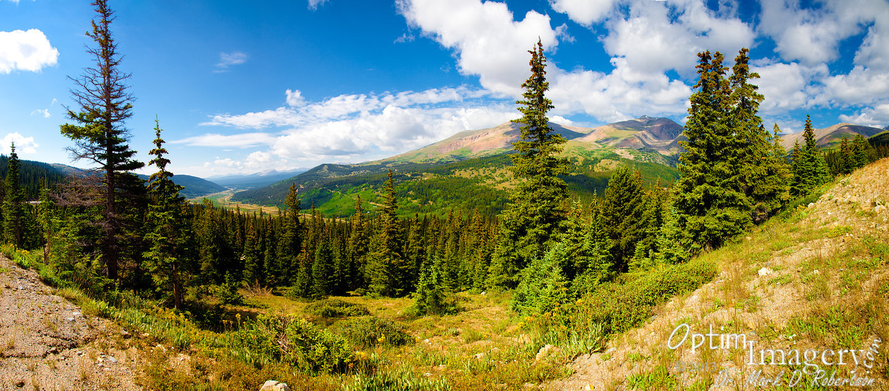 13-photo panorama of the mountains and the valley back down toward Fairplay.