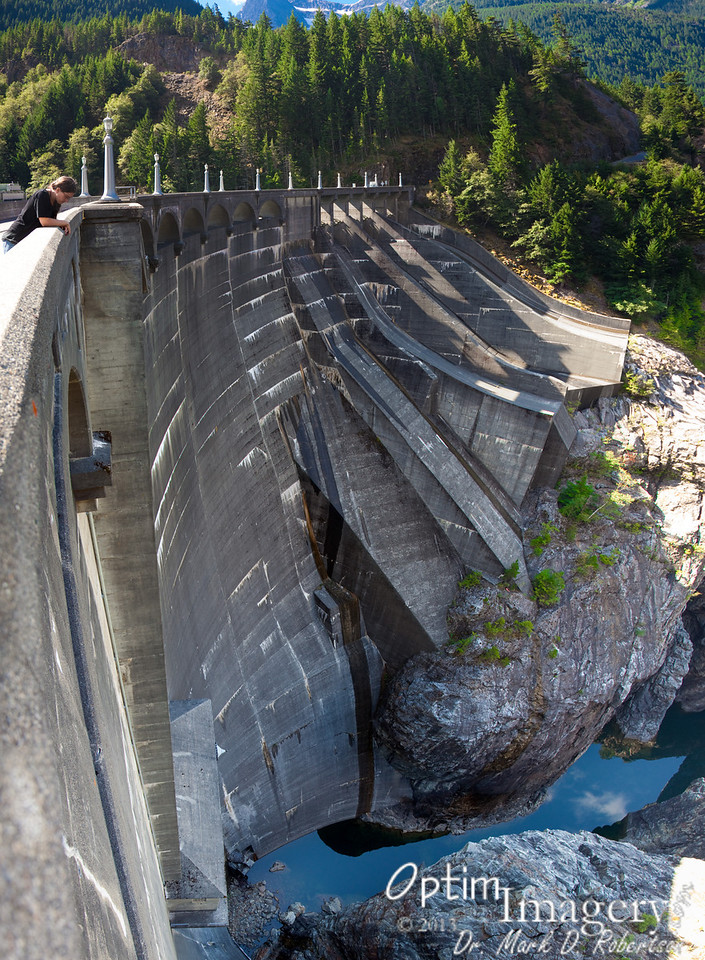 7-photo panorama looking down the 389-foot face of Diablo Dam.  When it was completed in 1930, this was the tallest dam in the world.
