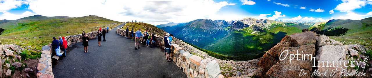 41-panel, greater-than 360-degree panorama from near the summit of Trail Ridge Road.  Again, lots of detail, if you decide to bring it up to original size.  Notice that Bev shows her unusual talent.