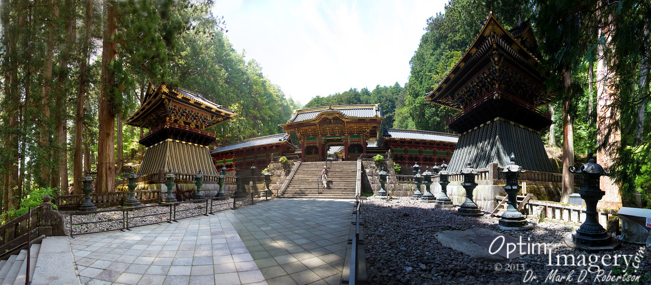 There was another gate after the Sacred Fountain which was covered over and undergoing renovation.  Now, back behind IT is this third gate, the Yasha-mon Gate.  This is a 13-photo panorama of the approach to the Yasha-mon Gate.