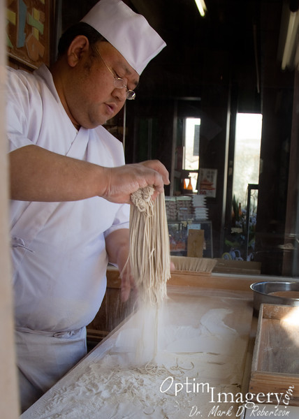 """And here you see the """"finished"""" noodles (except that I think they dry them prior to cooking with them), dusted with fresh buckwheat flour."""