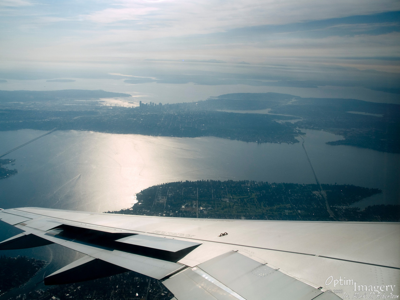 Approaching Seattle.  That's Lake Washington in the foreground and Puget Sound in the background.