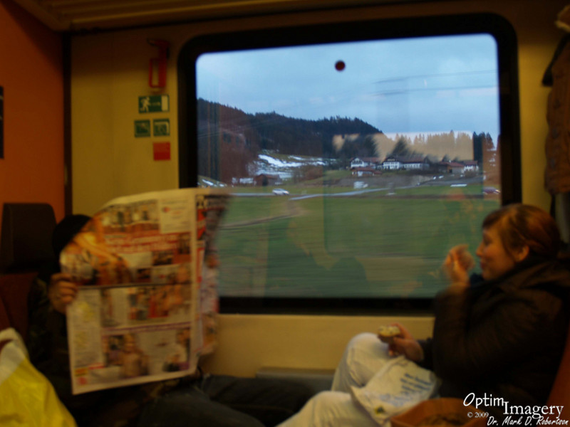 Here is what Germans do when they think you are photographing them on an early morning train!
