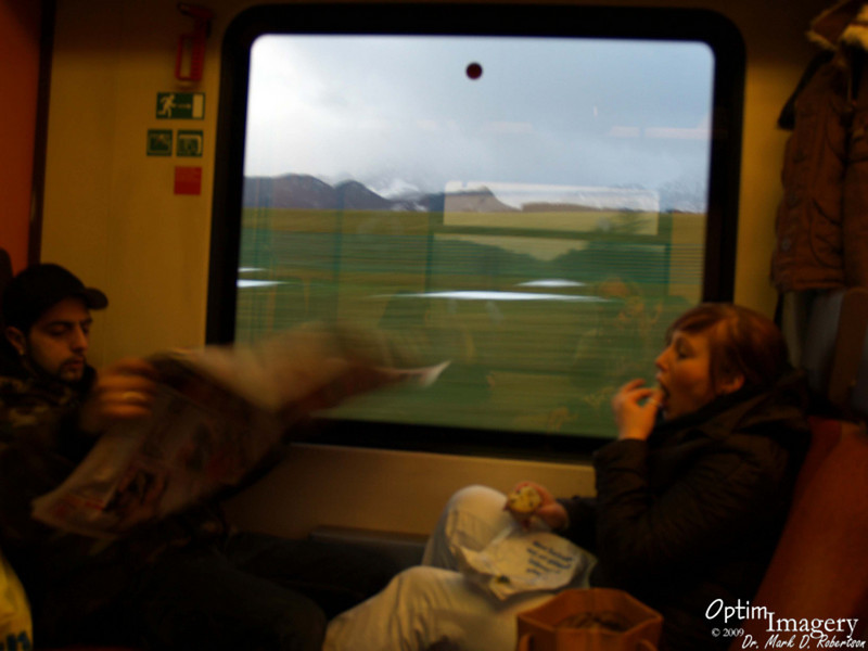 Germans riding along with us on the train.